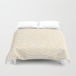 Pale Yellow Simple Simplistic Mandala Design Ethnic Tribal Pattern Duvet Cover