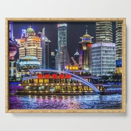 Pudong District Night Scene, Shanghai, China Serving Tray