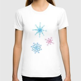 Pink and blue snowflakes T-shirt