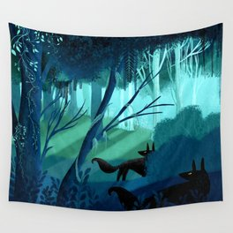 Shadow Wolves Stalk The Silver Wood Wall Tapestry