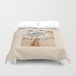 Elephant on tightrope Duvet Cover