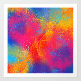 Bohemian 1960's Psychedelic Abstract Splatter Design Art Print