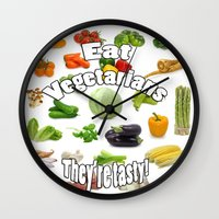 vegetarian Wall Clocks featuring Eat A Vegetarian by PerfectImperfections
