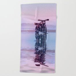 Where the Journey  begins Motorcycle at the Water Sunset Beach Towel