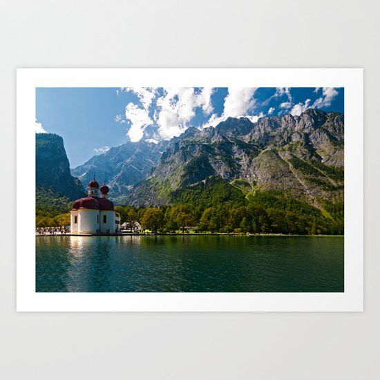 Outdoors, Church, Alps Mountains, Koenigssee Lake on #Society6 Art Print