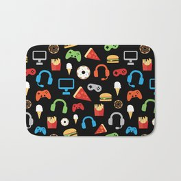 Video Game Party Snack Pattern Bath Mat