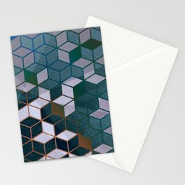 Muted Color Hexagons Blush Blue Mint Pattern Stationery Cards