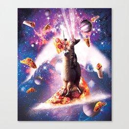Laser Eyes Space Cat Riding On Surfing Llama Unicorn Canvas Print
