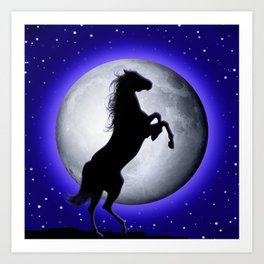 Wild Horse on Surreal Blue Moon Art Print
