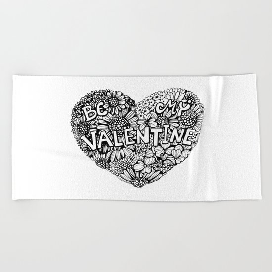 Floral heart Beach Towel