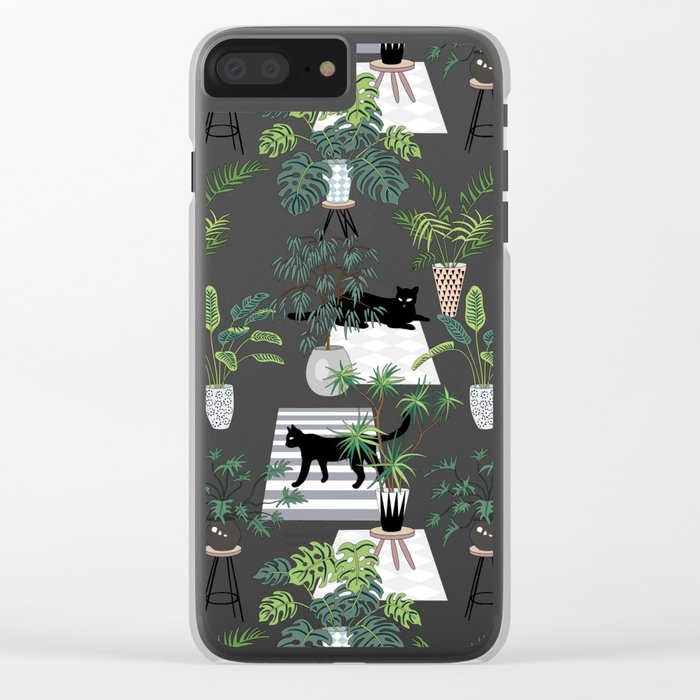 cats in the interior pattern Clear iPhone Case