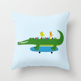 Crocodile and skateboard Throw Pillow