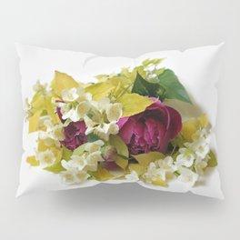 Golden Mock Orange and Pink Peonies Pillow Sham