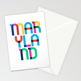 Maryland State Mid Century, Pop Art Mondrian Stationery Cards