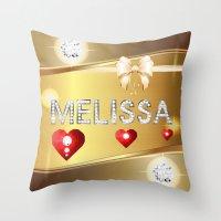 melissa smith Throw Pillows featuring Melissa 01 by Daftblue