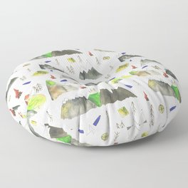 Watercolor Hills for Hikers and Nature lovers Floor Pillow