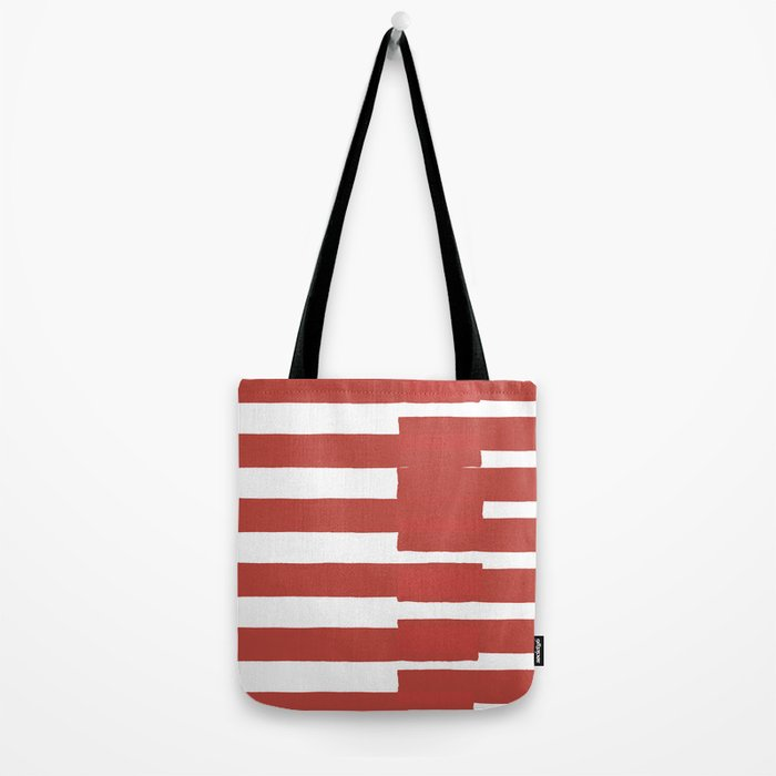 Big Stripes In Red Tote Bag