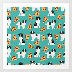 Japanese Chin cheery pizza slice junk food funny cute gifts for dog lover pet friendly pet protraits Art Print