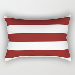 Falu red - solid color - white stripes pattern Rectangular Pillow