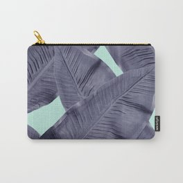 tropical leaf in blue  Carry-All Pouch