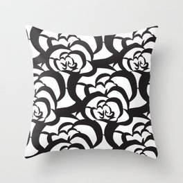 Black Floral Flower Clouds Throw Pillow
