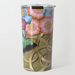 Butterfly and flowers on gold scrollwork Travel Mug