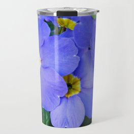 Blue Heartsease Flower Travel Mug