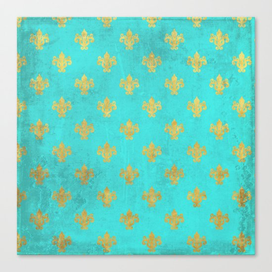 Queenlike on aqua I  Gold Heraldry elements on turquoise background Canvas Print