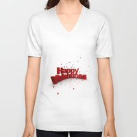valentines V-neck T-shirts featuring Happy Valentines by Tom Lee