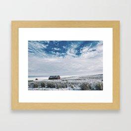 Red Barn In Winter Framed Art Print