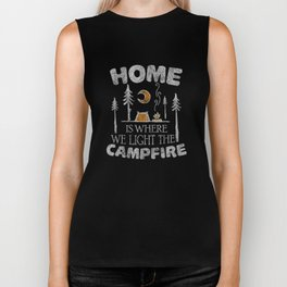 Home is Where We Light the Campfire Distressed T-Shirt Biker Tank
