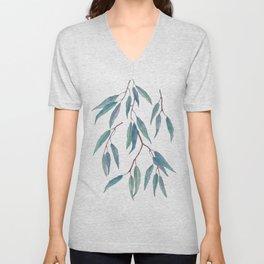 Eucalyptus leaves on indigo blue Unisex V-Neck