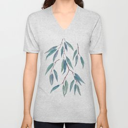 Eucalyptus leaves on indigo blue Unisex V-Neck