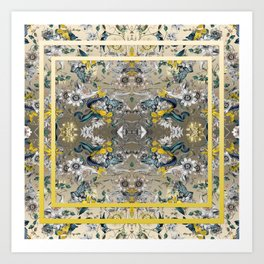 Passion Flower Baroque in Gold Yellow Grey Art Print
