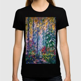 Deep in the Woods - One of the best of my forest path oil paintings with a palette knife. T-shirt