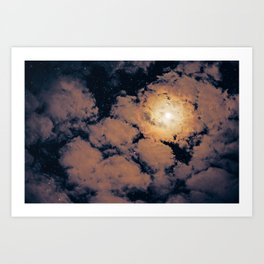 Full moon through purple clouds Art Print