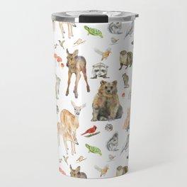 Woodland Animals Watercolor Travel Mug
