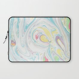 Modern abstract blue yellow white watercolor marble Laptop Sleeve