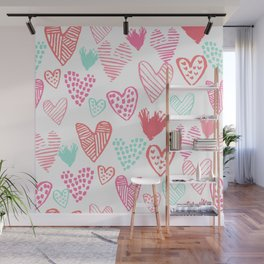 Hearts hand drawn heart pattern valentines day love gifts home decor hipster girls Wall Mural