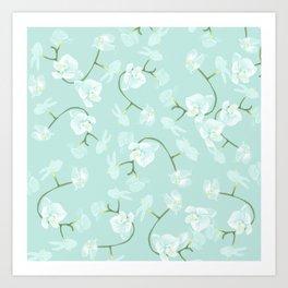 Eternal orchid delicate bloom - blue Art Print