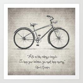 Albert Einstein Bicycle Quote Art Print