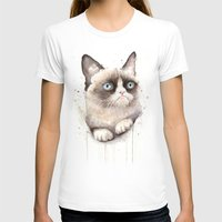 grumpy T-shirts featuring Grumpy Watercolor Cat by Olechka