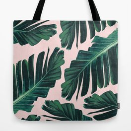 Tropical Blush Banana Leaves Dream #1 #decor #art #society6 Tote Bag