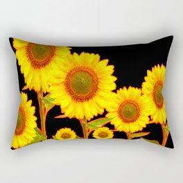 BLACK MODERN YELLOW SUNFLOWER FIELD Rectangular Pillow
