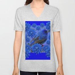 Blue Bird & Blue Flowers Pattern Art Unisex V-Neck
