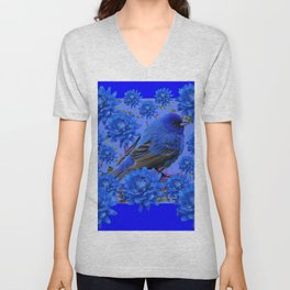 Blue Bird & Blue Flowers Pattern Art Unisex V-Neck