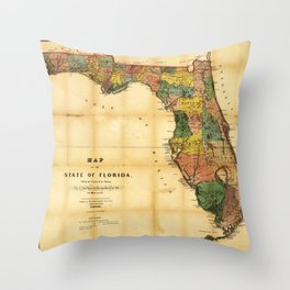 Map of the State of Florida (1856) Throw Pillow