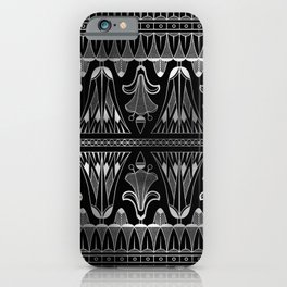 Silver and Black Glitzy Glam Ornate Art Deco iPhone Case