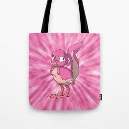 Berry Yogurt Reptilian Bird w/ Pink Tie Dye Background Tote Bag