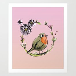 Rouge gorge - Rose Art Print